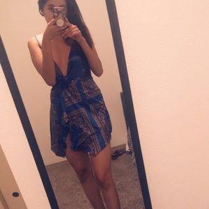 💙Blue fashion nova silk asymmetrical dress💙